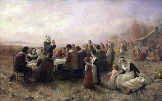 ccs Thanksgiving The First Thanksgiving at Plymouth by Jennie Brownscombe, public domain image (1)